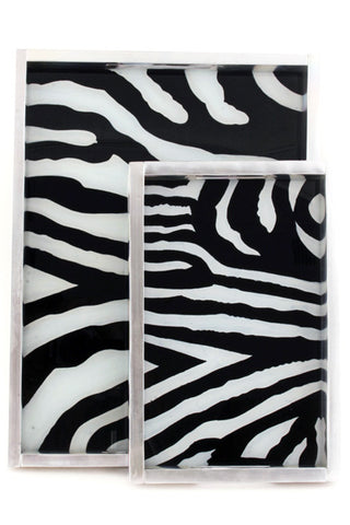 Swahili African Modern Reverse Glass Zebra Print Serving Tray- Small