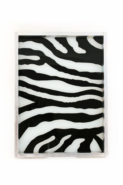 Swahili Reverse Glass Zebra Print Serving Tray-Large