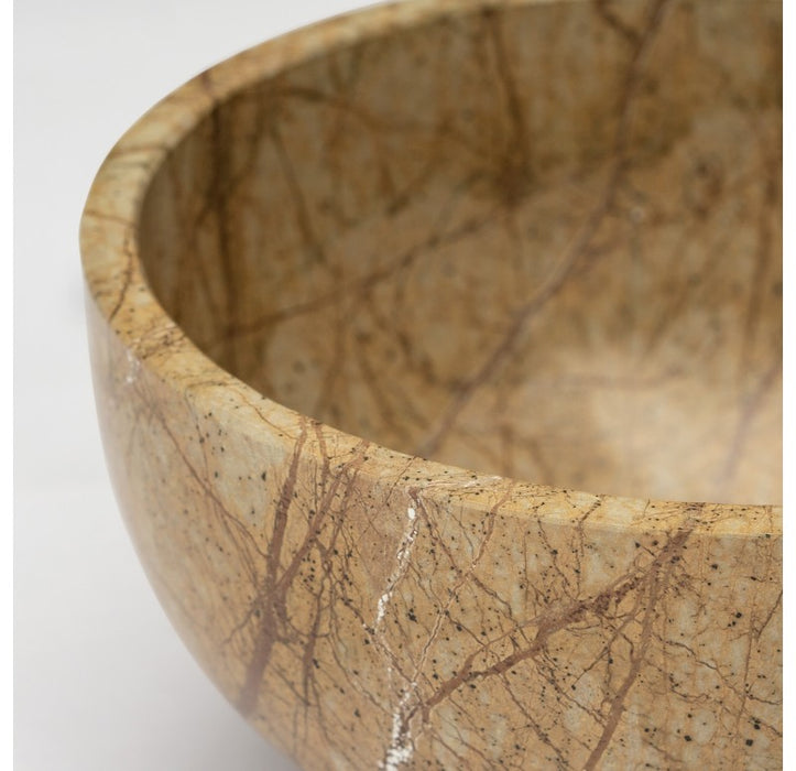 Forest Brown Stone Bowl  - Gold Leaf Design - Trovati