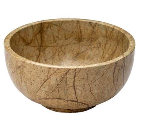 Forest Brown Stone Bowl  - Gold Leaf Design