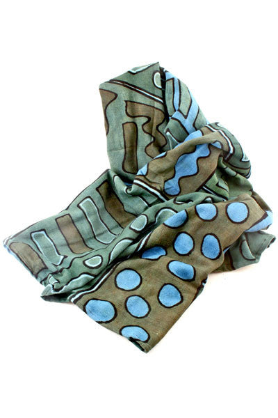 Swahili African Blue and Green Bogolan Festival Throw Blanket  - 2