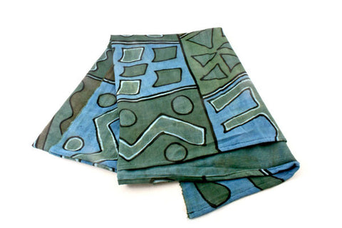 Swahili African Modern Blue and Green Bogolan Festival Throw Blanket
