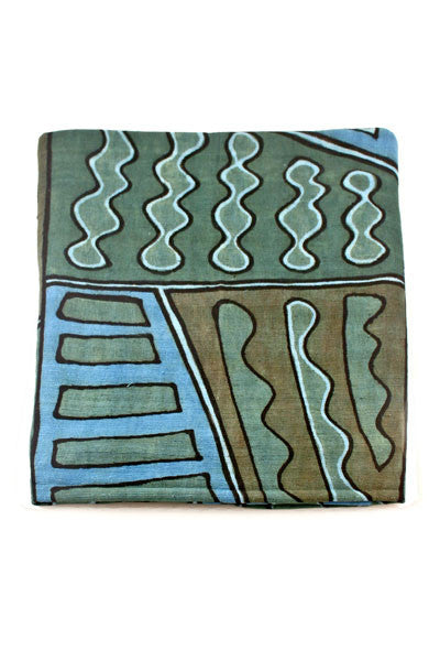 Swahili African Blue and Green Bogolan Festival Throw Blanket  - 3