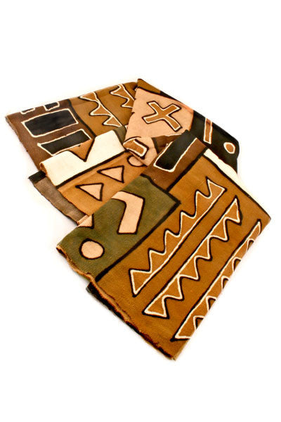 Swahili African Earth Tone Bogolan Festival Throw Blanket  - 1