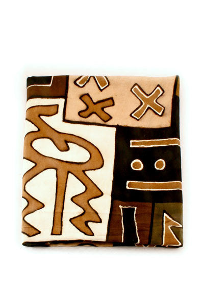 Swahili African Earth Tone Bogolan Festival Throw Blanket  - 3