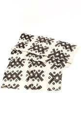 Swahili African Modern Malian Ladder Print Throw Blanket - Trovati Studio - White - Black