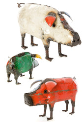 African Recycled Oil Drum Pig Sculpture | Swahili African | Trovati