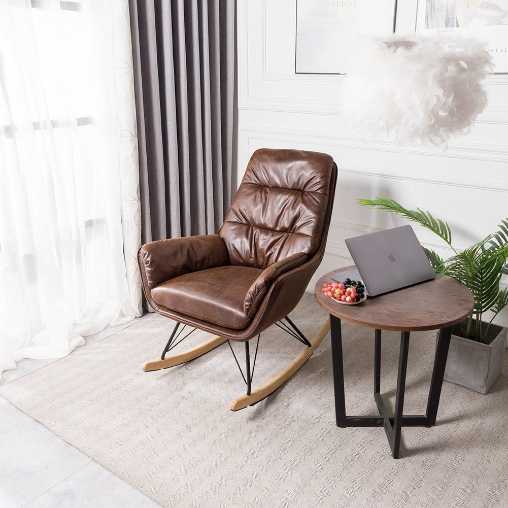 Vintage Leather Wing Back Sofa Armchair Rocking Chair