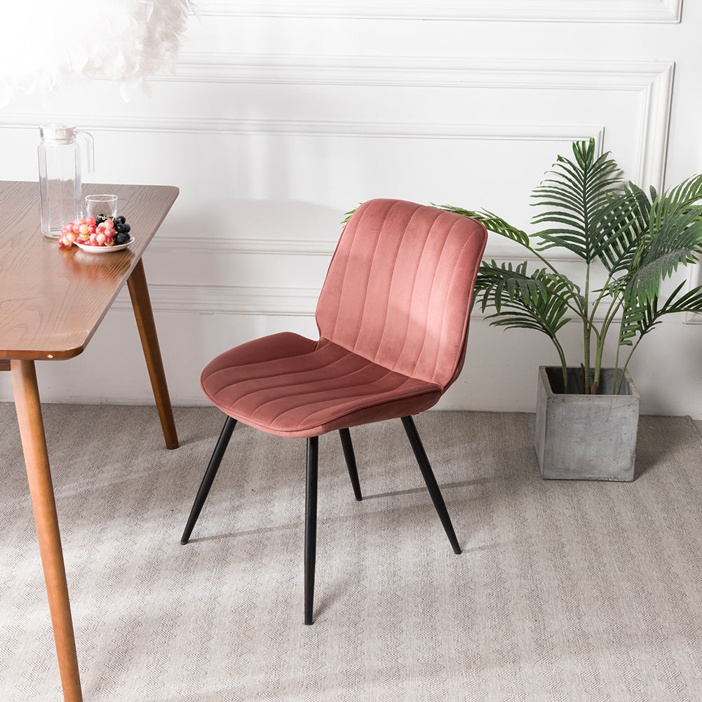 Set of 2 Crushed Velvet Fabric Home Dining Chairs