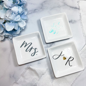 White Square Custom Ring Dish