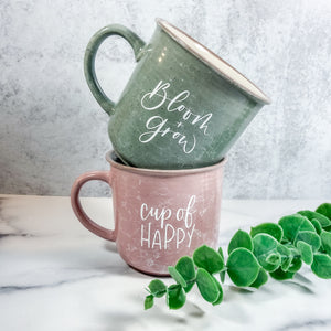 Cup Of Happy Blush Marble Campfire Mug