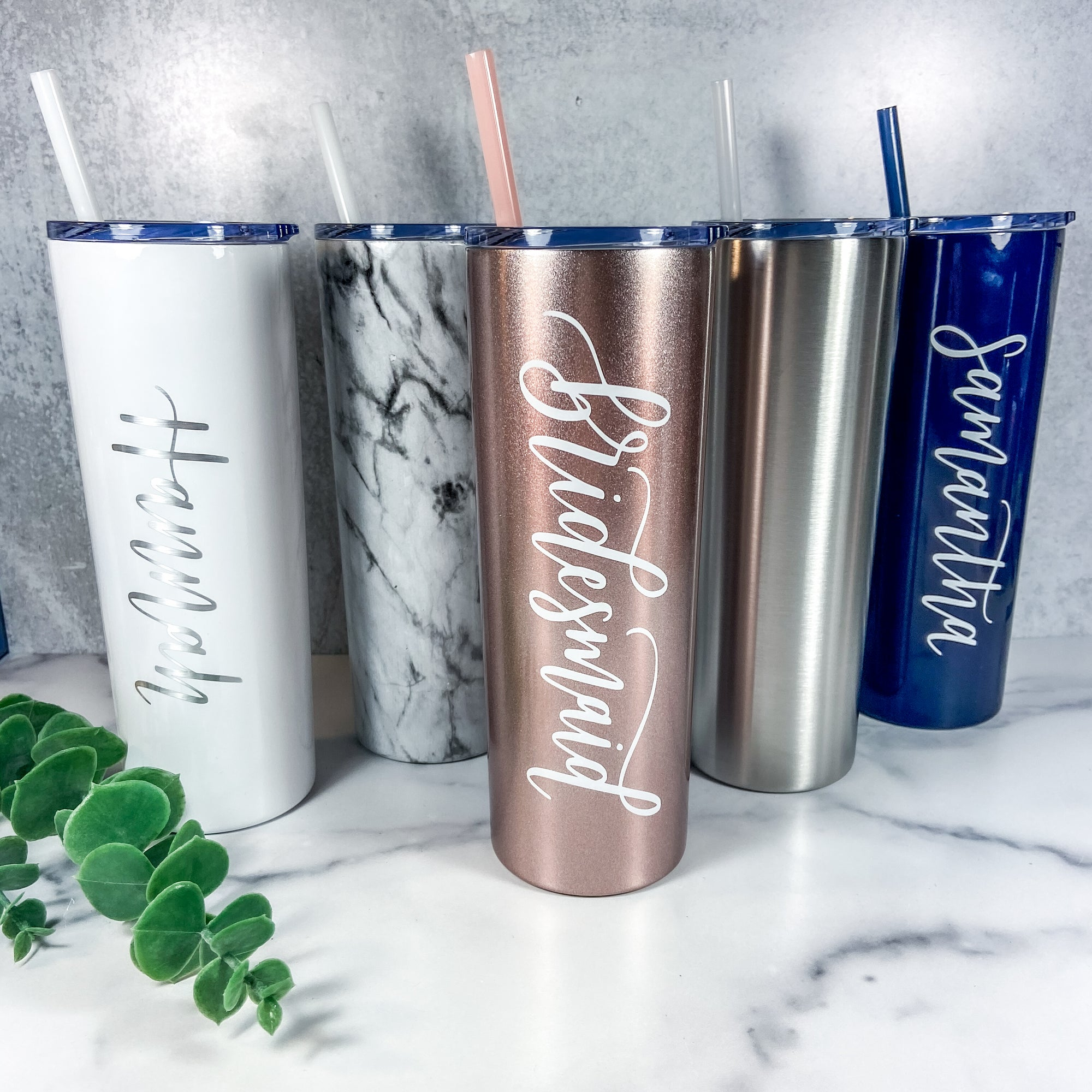 Personalized Skinny Tumbler with Straw