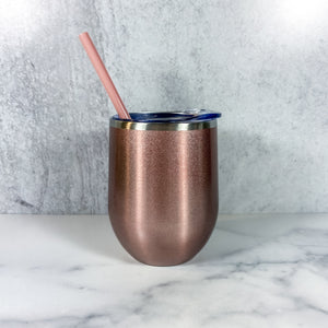 Personalized Wine Tumbler with Straw