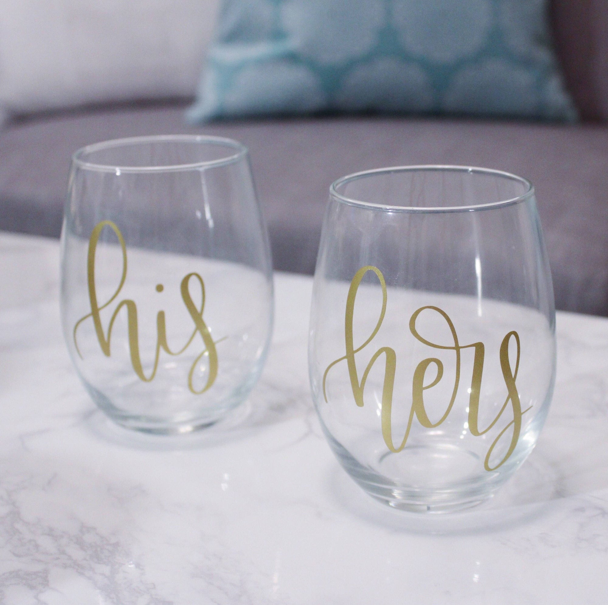 His and Hers Stemless Wine Glass Set