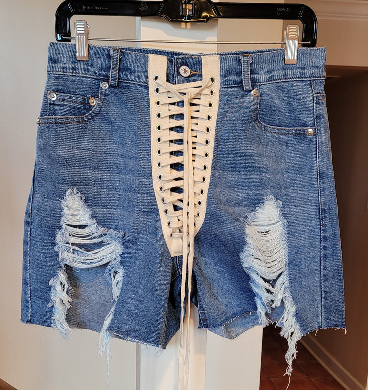 Lace-up Cutoff Shorts