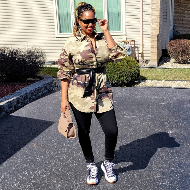 Kim Camo Shirtdress