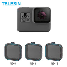 Load image into Gallery viewer, 3 Pack Nd Lens Protector Kit Set(ND4 8 16) neutral Density Filter Voor Gopro Hero 5 Hero 6 7 Zwart