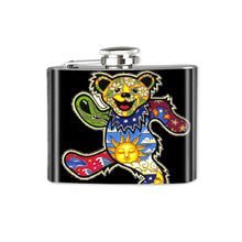 Load image into Gallery viewer, Altered Art Flask - Deadhead Dancing Bear - UrbanroseNYC