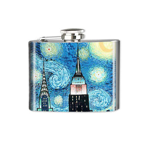 Altered Art Flask - NYC Starry Night - UrbanroseNYC