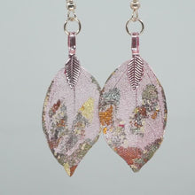 Load and play video in Gallery viewer, Real Leaf Earrings - Gilded, Dusty Rose