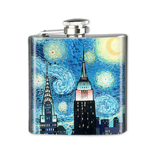 Load image into Gallery viewer, Altered Art Flask - NYC Starry Night - UrbanroseNYC