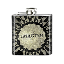 Load image into Gallery viewer, Altered Art Flask - Imagine - UrbanroseNYC