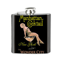 Load image into Gallery viewer, Altered Art Flask - Manhattan Cocktail - UrbanroseNYC