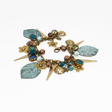 Load image into Gallery viewer, Vintage Style Charm Bracelet - Patina Leaf & Flowers - UrbanroseNYC