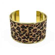 Load image into Gallery viewer, Portuguese Cork Channel Cuff - Cheetah Print - UrbanroseNYC
