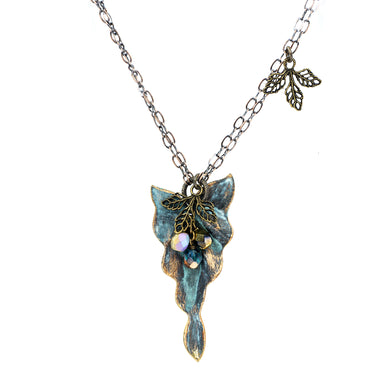 Patina Philodendron Leaf Necklace - UrbanroseNYC