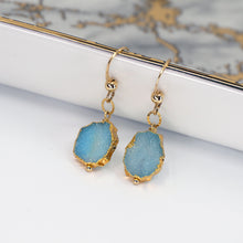 Load image into Gallery viewer, Minimalist Gemstone Earrings - Blue Druzy - UrbanroseNYC