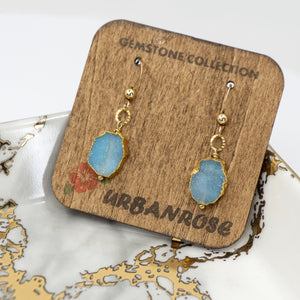Minimalist Gemstone Earrings - Blue Druzy - UrbanroseNYC