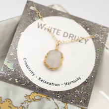 Load image into Gallery viewer, Minimalist Gemstone Pendant - White Druzy - UrbanroseNYC