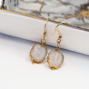 Minimalist Gemstone Earrings - White Druzy - UrbanroseNYC