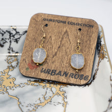 Load image into Gallery viewer, Minimalist Gemstone Earrings - White Druzy - UrbanroseNYC