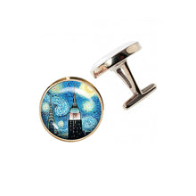 Load image into Gallery viewer, Altered Art Cufflinks - NYC Starry Night - UrbanroseNYC