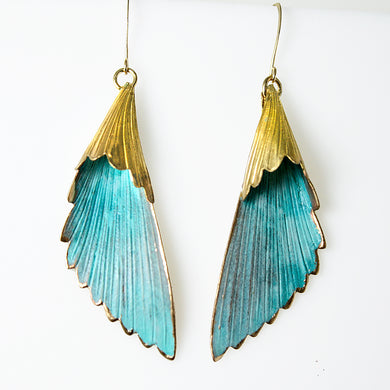 Patina Scalloped Leaf Earrings - UrbanroseNYC