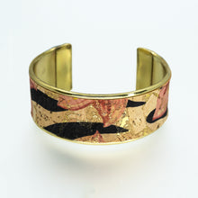 Load image into Gallery viewer, Portuguese Cork Channel Cuff - Floral Print; Metallic Gold - UrbanroseNYC