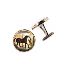 Load image into Gallery viewer, Altered Art Cufflinks - Vintage Horse & Jockey - UrbanroseNYC