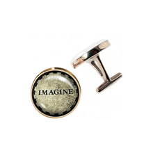 Load image into Gallery viewer, Altered Art Cufflinks - Imagine - UrbanroseNYC