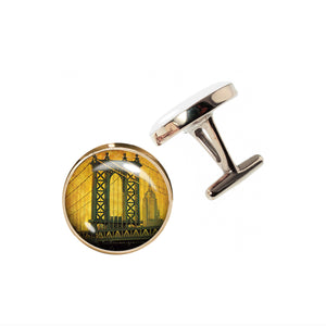 Altered Art Cufflinks - Manhattan Bridge at Sunset - UrbanroseNYC
