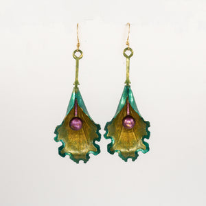 Artisan Patina Orchid Earrings - Kelley Green, Olivine & Goldenrod - UrbanroseNYC
