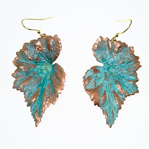 Patina Begonia Leaf Earrings - UrbanroseNYC