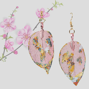 Real Leaf Earrings - Gilded, Dusty Rose - UrbanroseNYC