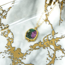 Load image into Gallery viewer, Minimalist Gemstone Pendant - Ruby in Zoisite - UrbanroseNYC