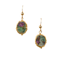 Load image into Gallery viewer, Minimalist Gemstone Earrings - Ruby in Zoisite - UrbanroseNYC