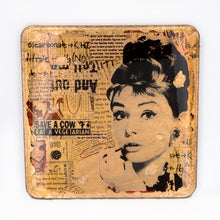 Load image into Gallery viewer, Gilded Coaster - Audrey Hepburn - UrbanroseNYC