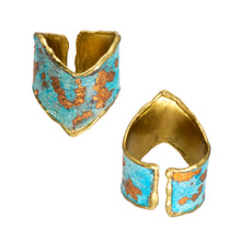 Load image into Gallery viewer, Copper Gilded Patina Brass Chevron Ring - UrbanroseNYC