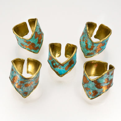 Copper Gilded Patina Brass Chevron Ring - UrbanroseNYC