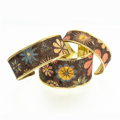 Portuguese Cork Channel Cuff - Chocolate Floral Metallic - UrbanroseNYC